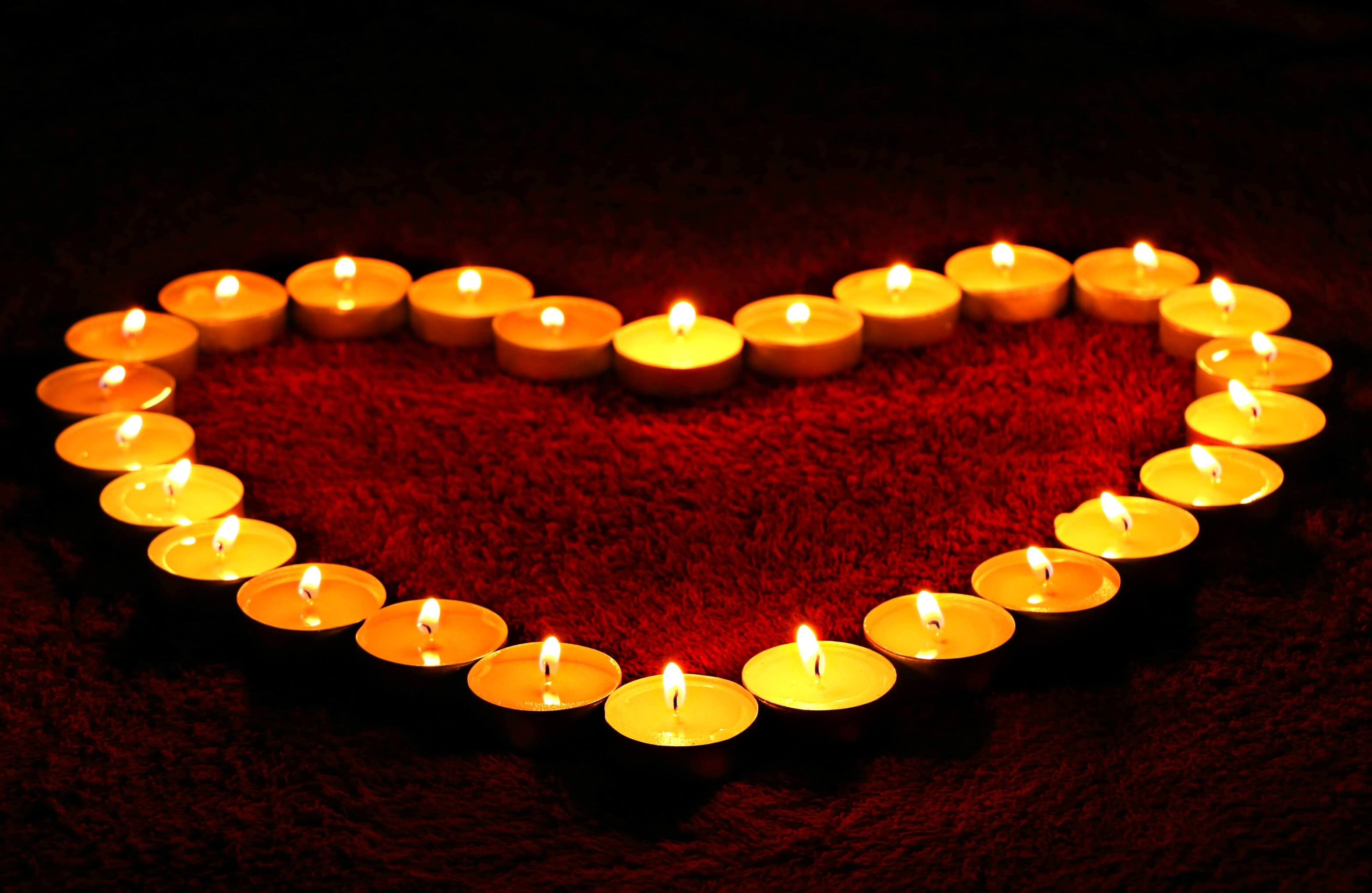 heart made of votive candles